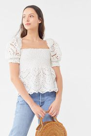 Vetiver Halcyon Eyelet Babydoll Top