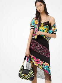 Michael Kors Mixed-Print Silk-Georgette and Lace S