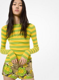 Michael Kors Striped Featherweight Cashmere Sweate