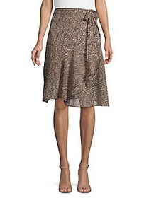 French Connection Animal-Print Wrap Skirt BROWN LE