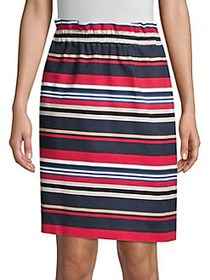 Donna Karan Striped Pull-On Skirt POMEGRANATE STRI
