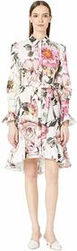 Marchesa Floral Printed Cotton Shirtdress with Hig