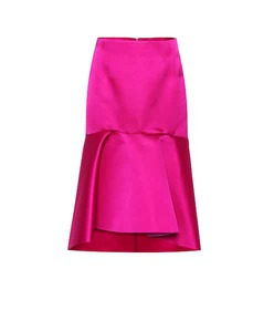 Balenciaga High-rise silk satin godet skirt