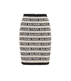 Balmain Striped linen-blend knit skirt