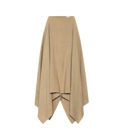 Salvatore Ferragamo Asymmetrical linen and silk sk