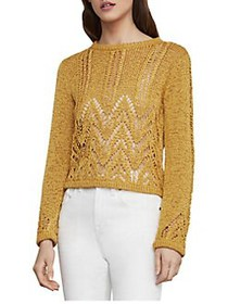 BCBGMAXAZRIA Mixed Stitch Crop Sweater GOLDEN YELL