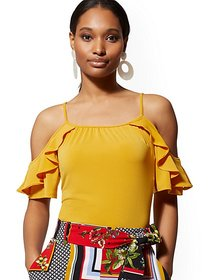 Ruffled Cold-Shoulder Top - 7th Avenue - New York