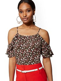 Floral Ruffled Cold-Shoulder Top - New York & Comp
