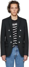 Balmain Black Cotton Double-Breasted Blazer
