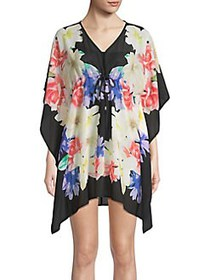 Calvin Klein Drawstring Cover-Up Caftan BLACK