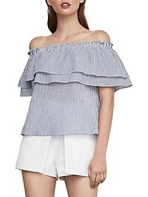 BCBGMAXAZRIA Off-The-Shoulder Striped Top OFF WHIT