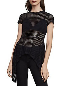 BCBGMAXAZRIA Lace Asymmetric Peplum Top BLACK