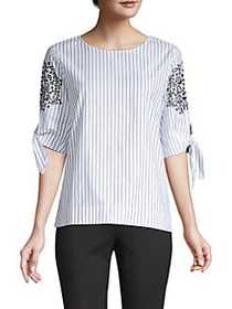Donna Karan Eyelet Detail Striped Top WHITE INDIGO