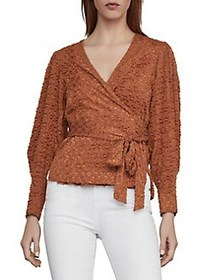 BCBGMAXAZRIA Pleated Shoulder Wrap Top TIGER EYE
