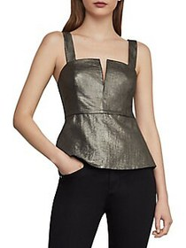 BCBGMAXAZRIA Metallic Sleeveless Peplum Top GOLD C