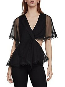 BCBGMAXAZRIA Twist-Front Capelet Top BLACK