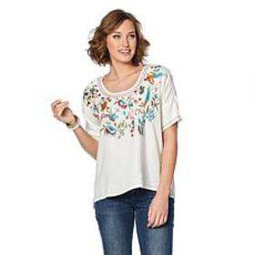 Curations Embroidered Caftan Blouse