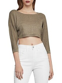 BCBGMAXAZRIA Metallic Knit Cropped Top GOLD COMBO