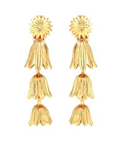 Oscar de la Renta Tiered floral clip-on earrings