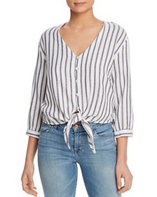 Three Dots - Striped Gauze Tie-Front Top