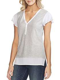 Vince Camuto Essentials Layered Flutter Top HEATHE