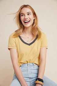 Anthropologie Contrast Fitted Tee