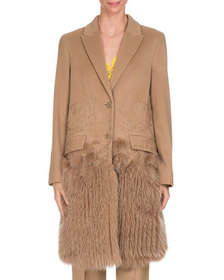 Givenchy Wool-Cashmere Lace Single-Breasted Coat w
