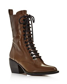 Chloé - Women's Rylee Pointed Toe Leather Mid-Heel
