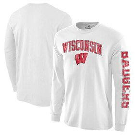 Wisconsin Badgers Distressed Arch Over Logo Long S