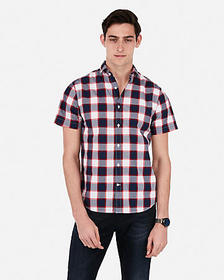 Express slim plaid short sleeve shirt