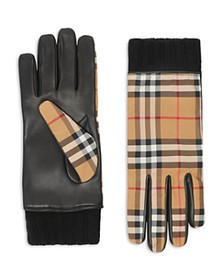 Burberry - Cashmere-Lined Leather-Trimmed Check Gl