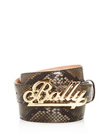 Bally - Men's Swoosh Snake-Embossed Leather Belt