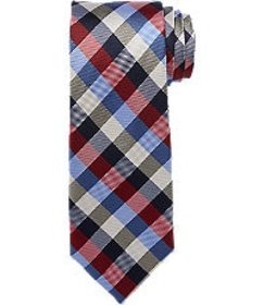 Jos Bank Traveler Collection Gingham Check Tie - L