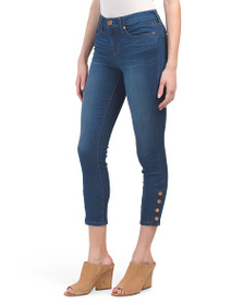 SEVEN7 Mid Rise Side Snap Skinny Ankle Jeans