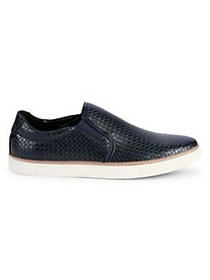 Black Brown 1826 Basketweave Slip-On Sneakers NAVY