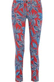 ETRO Cropped floral-print mid-rise skinny jeans