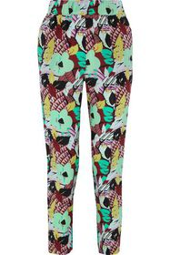 ETRO Cropped floral-print washed-silk tapered pant