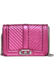 REBECCA MINKOFF Love small quilted metallic leathe