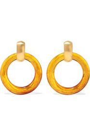 KENNETH JAY LANE Gold-tone resin hoop clip earring