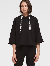 Donna Karan CROPPED-SLEEVE HOODIE WITH LOGO DRAWST