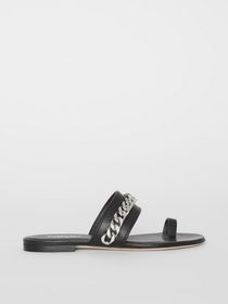 Burberry Chain Detail Leather Sandals in Black