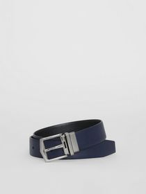 Burberry Reversible London Leather Belt in Dark Na