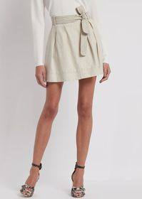 Armani Cotton and linen skirt with striped belt