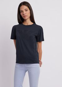 Armani T-shirt in jersey Pima cotton with tone-on-