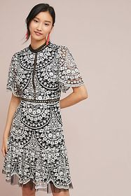 Anthropologie ML Monique Lhuillier Morrell Embroid