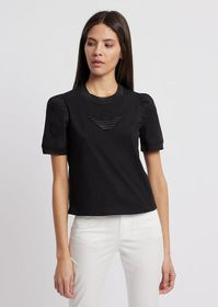Armani Short-sleeved sweater with embossed logo an