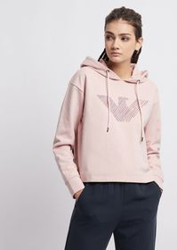 Armani Cropped sweatshirt with hood and embroidere