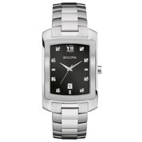 BULOVA Bulova Mens Diamond Oblong Stainless Steel