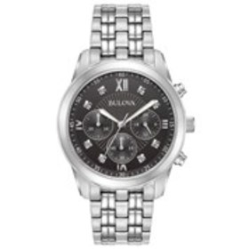 BULOVA Bulova Mens Diamond Black Dial Chronograph