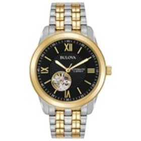 BULOVA Bulova Mens Black Skeleton Dial Automatic T
